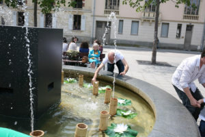 Fontaine musicale interactive